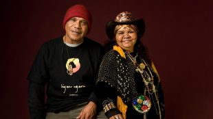 Archie Roach and Ruby Hunter smile for the camera