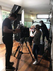 DOP Josh Flavell, director Stamatia Maroupas and Michael Fairbairn in background at the Julia Gillard shoot. Courtesy Annabel Crabb.
