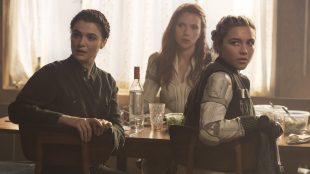 Rachel Weisz, Florence Pugh, and Scarlett Johansson in Black Widow