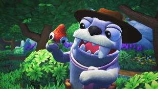 A Bugsnax screenshot featuring a grumpus holding a bugsnax.
