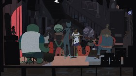 A screenshot from Akupara Games' Mutazione. An illustrated image of a group of people gathered around, smiling and talking.