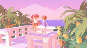 Two pastel-toned cartoon characters sit on an outlook near the beach. Image from surf club, an upcoming videogame by Olivia Haines.