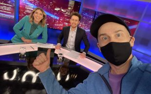 Melanie Bracewell, Tim McDonald, and Tom Gleisner on the set of The Cheap Seats